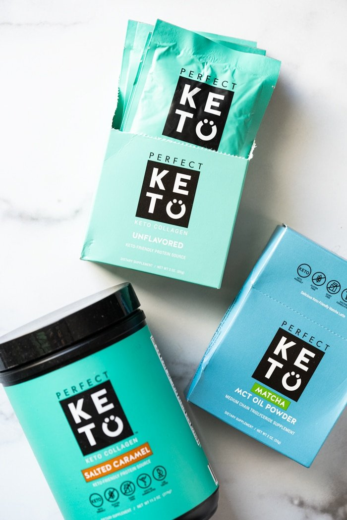 Perfect Keto collagen packets and caramel flavor