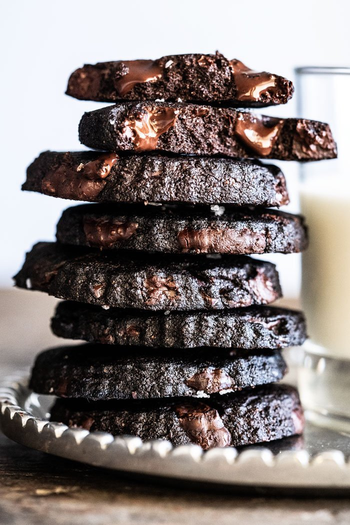 Keto chocolate shortbread cookies piled up