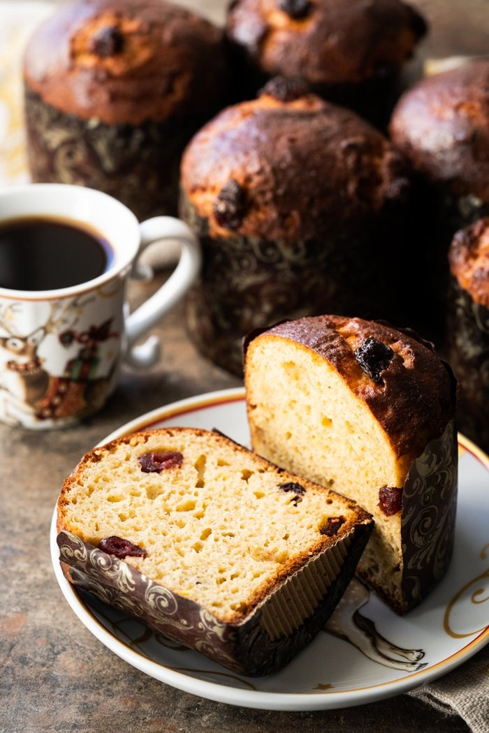 Sliced gluten free & keto panettone with coffee