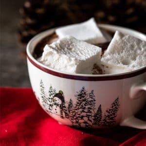 Keto hot chocolate with marshmallows in a snowman mug