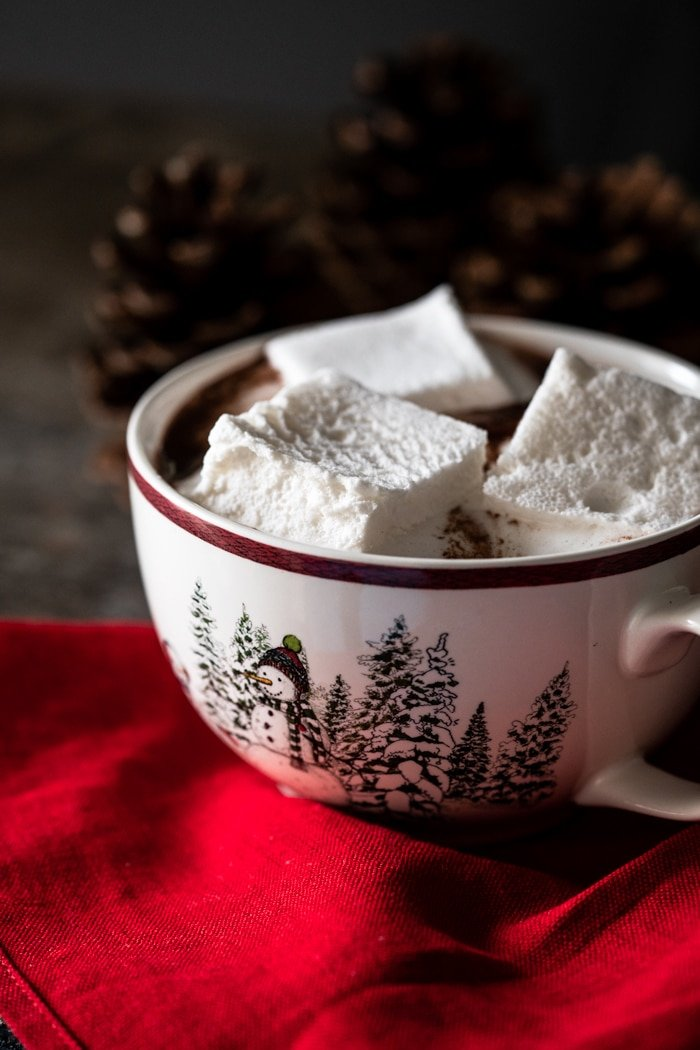Keto hot chocolate with marshmallows in a snowman mug