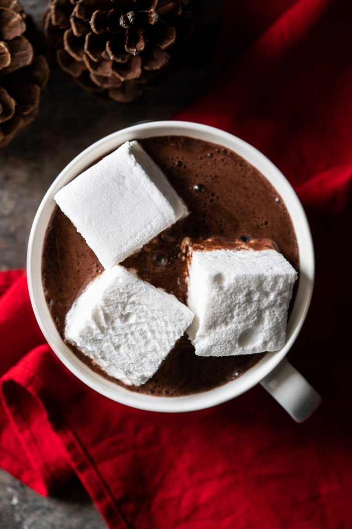 Keto Hot chocolate with three large sugar free marshmallows