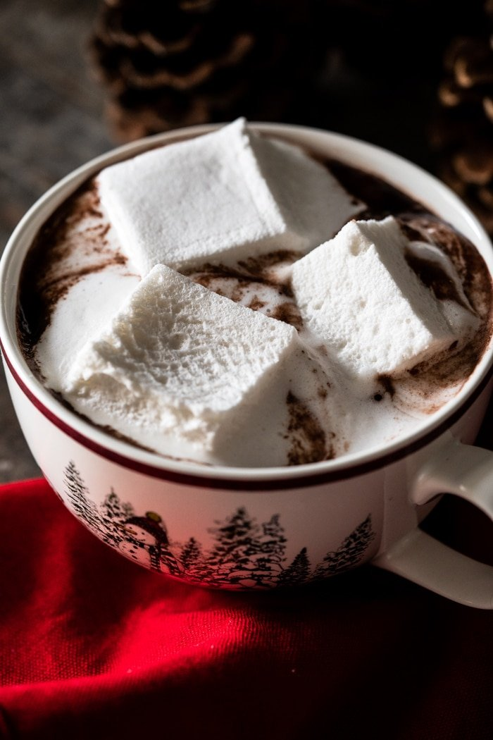 Melting marshmallows in a keto hot chocolate