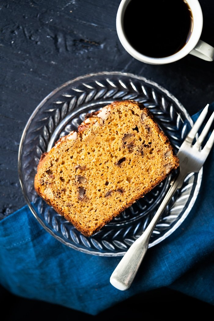 A slice of keto 'banana' bread with coffee