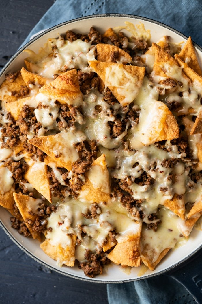 Freshly baked keto nachos with pepper jack cheese