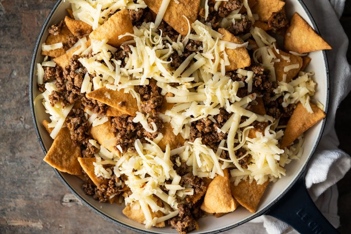 Unbaked keto nachos with beef and cheese