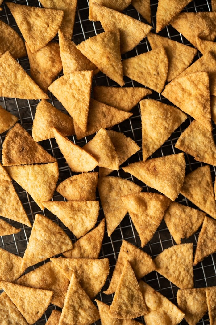Freshly baked low carb & keto tortilla chips