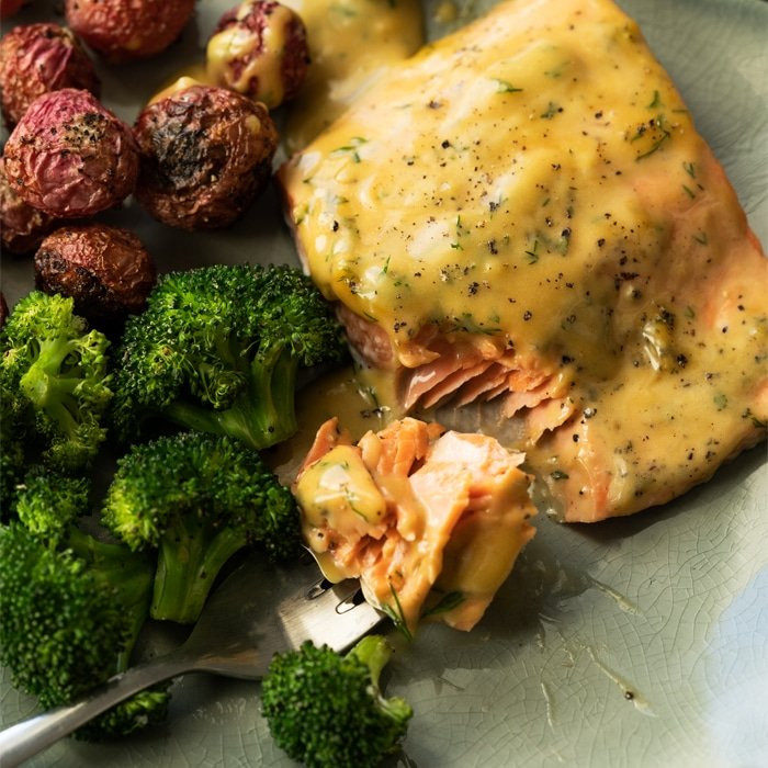 Keto Honey Mustard Salmon with broccoli and radishes