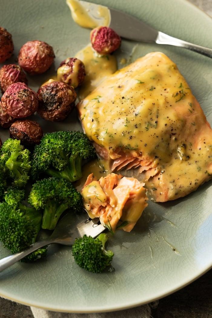 Keto Honey Mustard Salmon with broccoli and radishes