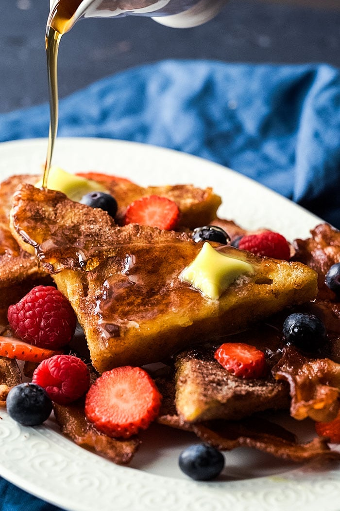 Keto french toast with sugar free maple syrup
