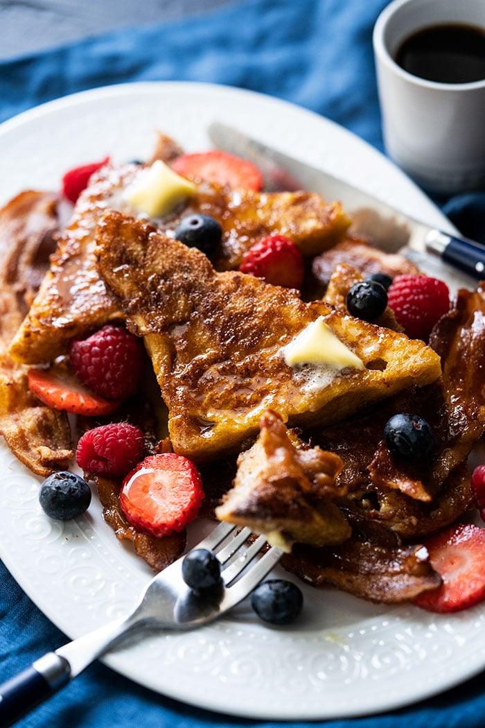 Keto french toast with bacon and berries