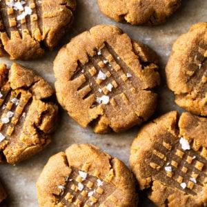 Sugar Free & Keto Peanut Butter Cookies With Flaky Sea Salt