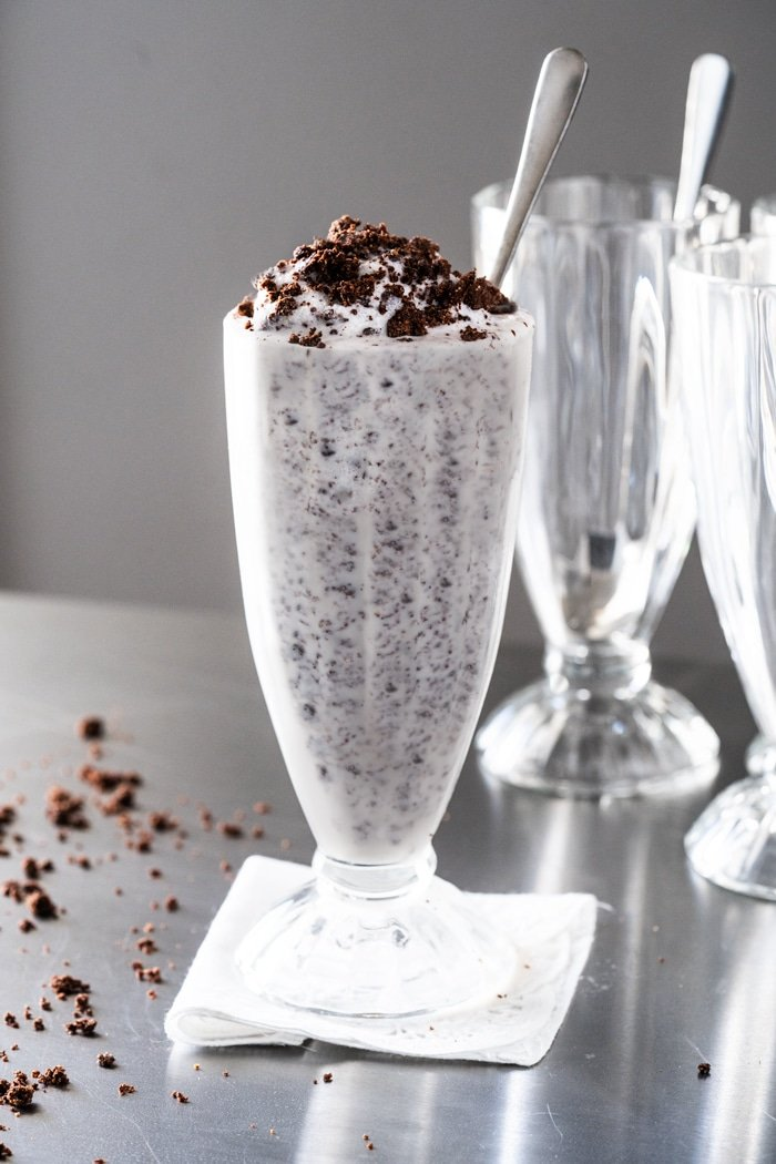 Keto cookies cream milkshake in soda glasses