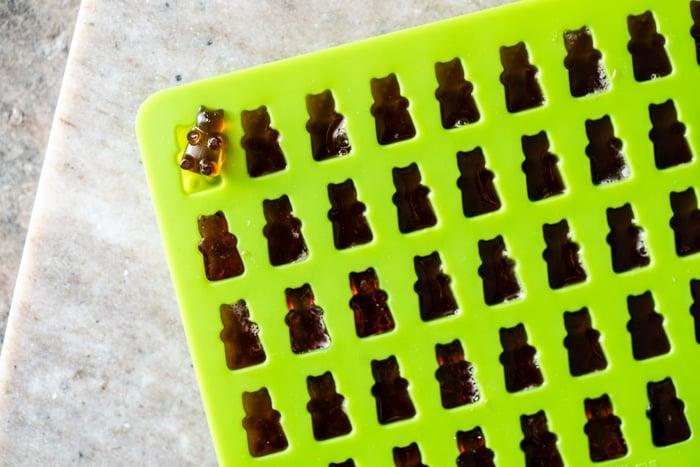 Keto gummies in a green silicon bear mold