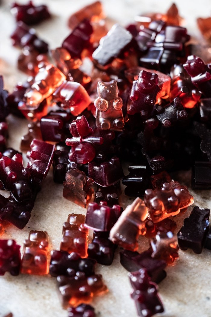 A pile of raspberry & blackberry keto gummy bears