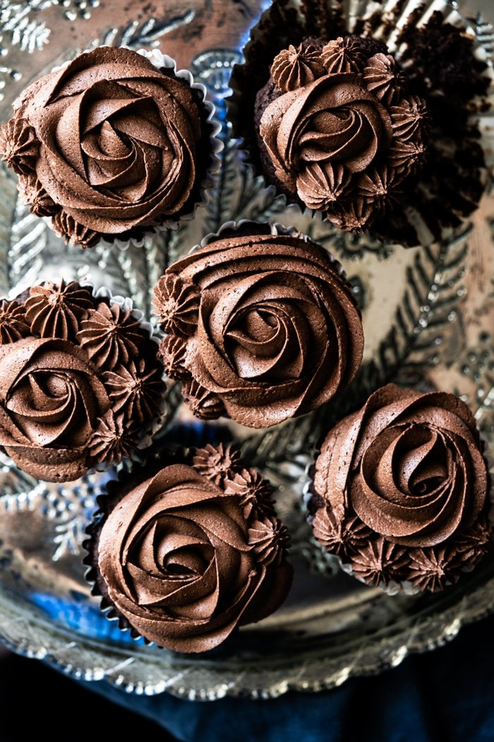 Cream cheese chocolate buttercream frosting piped as flowers