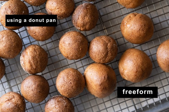Comparing the donut holes baked in a pan versus on a baking mat
