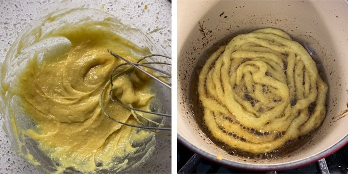 The texture of the keto funnel cake batter and frying them