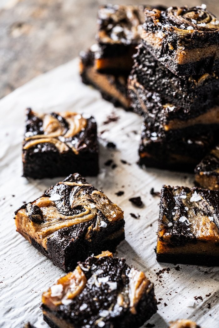 Keto peanut butter swirl brownies with flaky sea salt