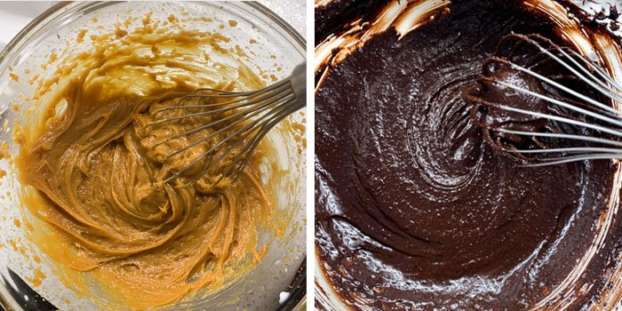 The peanut butter and brownie batters in glass bowls with whisks