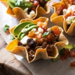 Keto taco bowls with crisp low carb tortilla cups