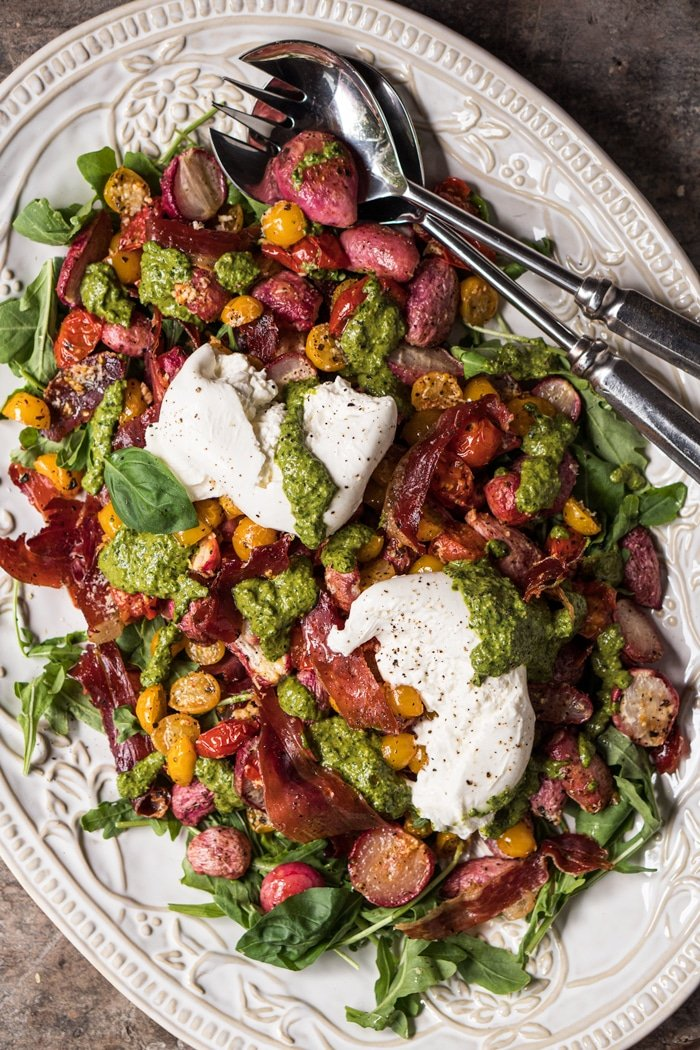 Mediterranean keto potato salad on a white serving platter
