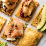 Keto flatbreads with various sweet and savory toppings
