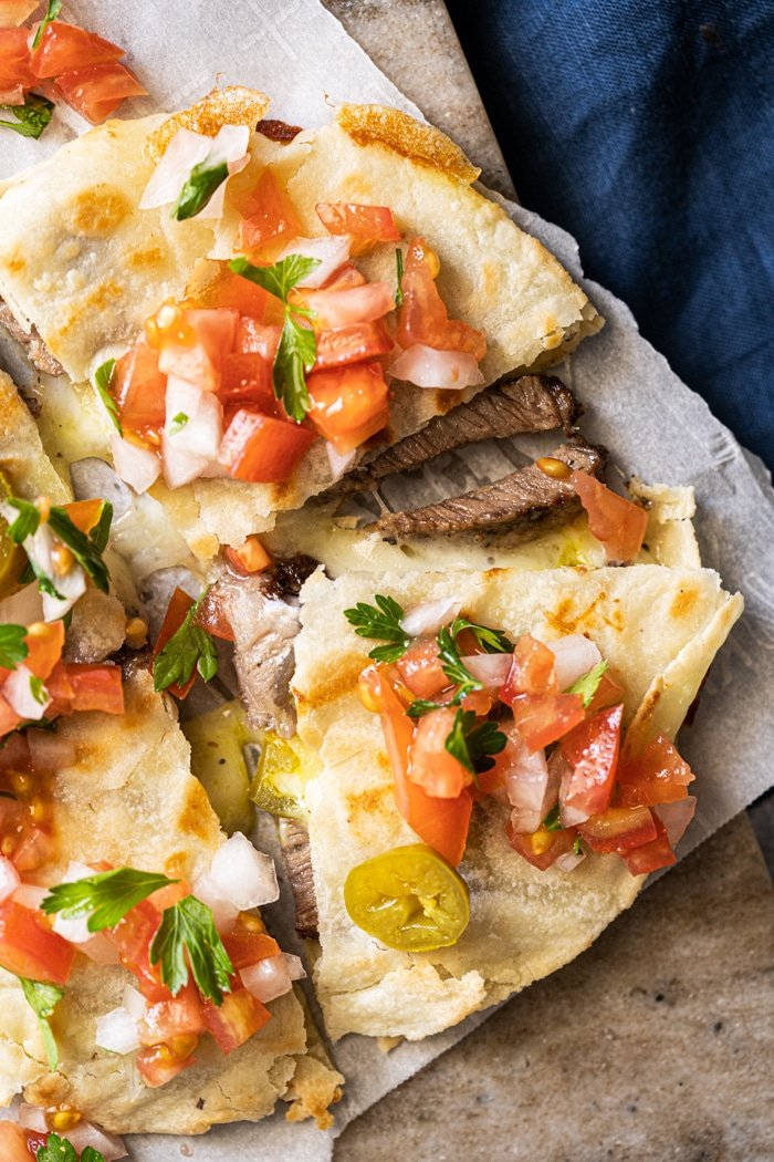 Gluten free & keto quesadillas with pico de Gallo salsa