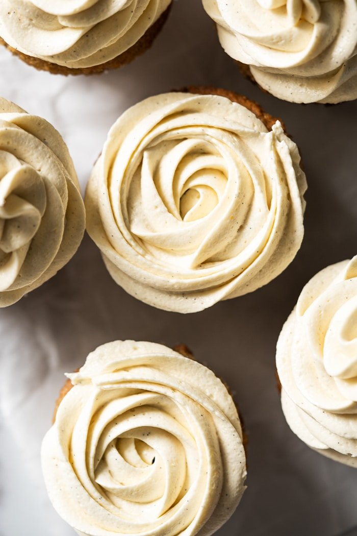 Closeup Keto vanilla buttercream frosting piped into rosettes