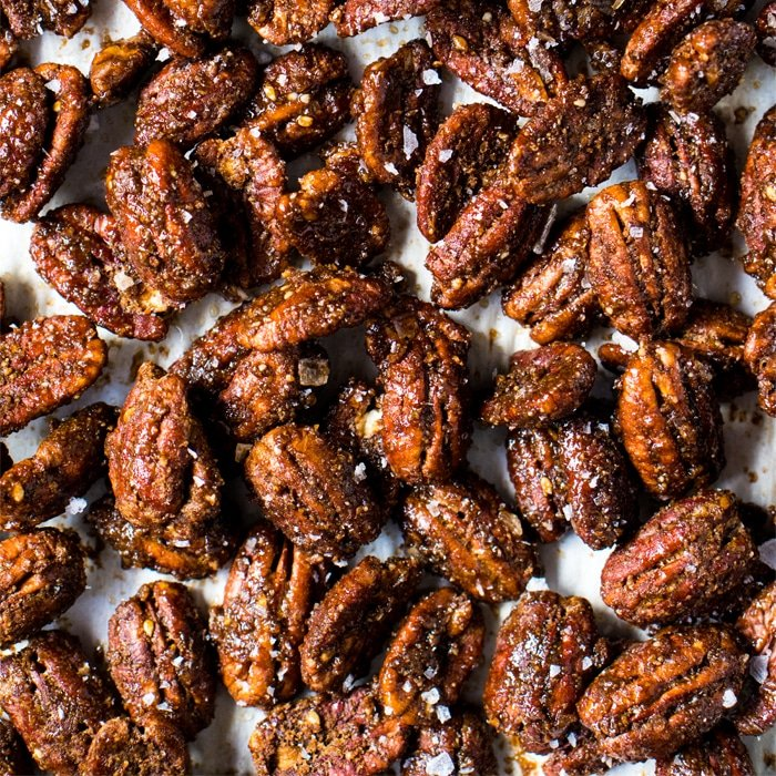Keto candied pecans with flaky sea salt