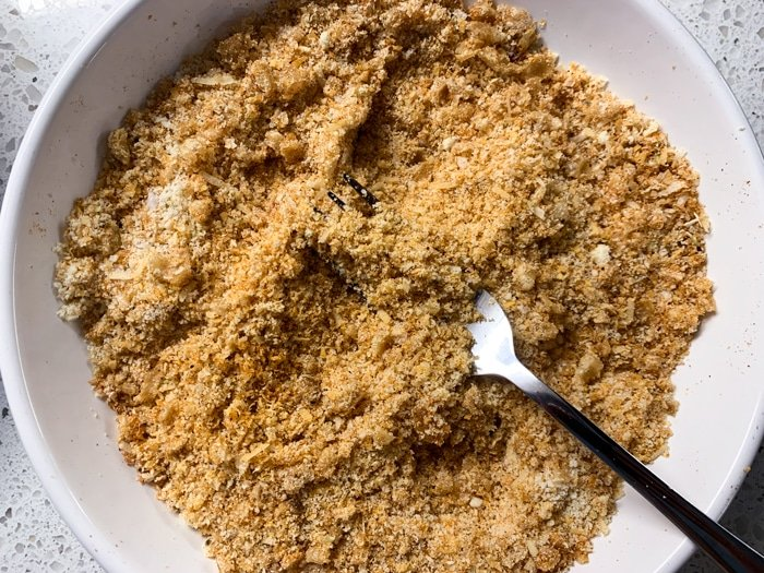 The paleo and keto chicken nugget breading in a bowl