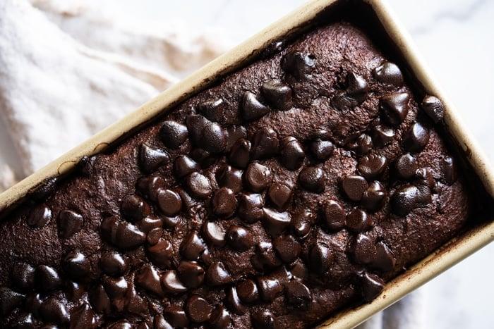 Closeup of freshly baked keto chocolate zucchini bread