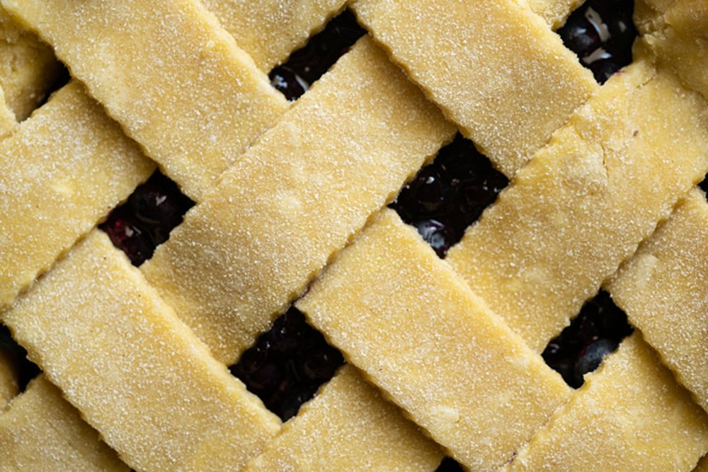 Close up of keto lattice pie crust with almond and coconut flours