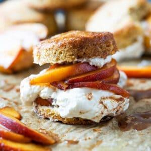 Keto peach shortcake with homemade maple whipped cream